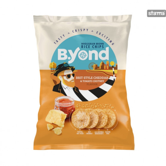 Бијонд Чипс од Ориз со Чедар и Чатни сос 70г