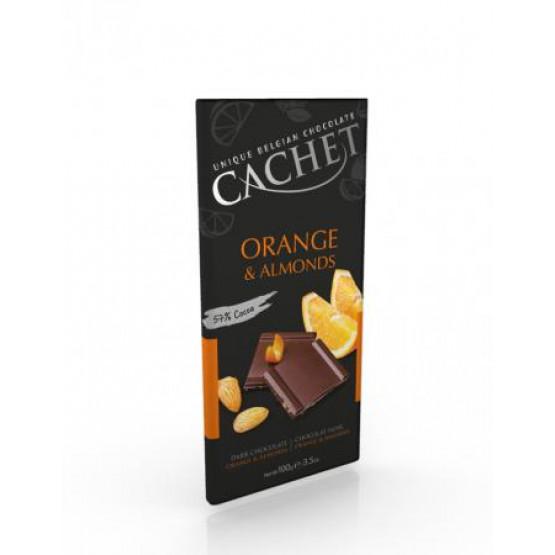 Кашет Црно чоколадо со портокал и бадеми 100г