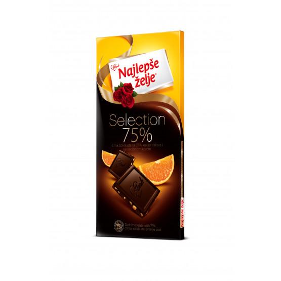 Чоколадо  Најлепше жеље црно со портокал 75г